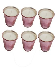 New Ribbed Glass Material Candle Holder A set Of 6 Pink Color Votive