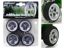 CUSTOM 1932 FORD HOT ROD 5 SPOKE WHEEL AND TIRE SET OF 4 1/18 GREENLIGHT 12976