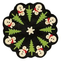 "SNOWMAN CHRISTMAS TREE CANDLE MAT Doily Primitive Folk Art Felt 12"" Dia Holiday"