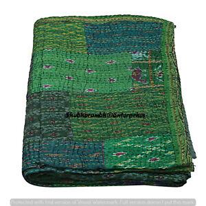 Green Silk Kantha Quilt Patchwork Bedding Bedspread Bohemian Hippie Coverlet