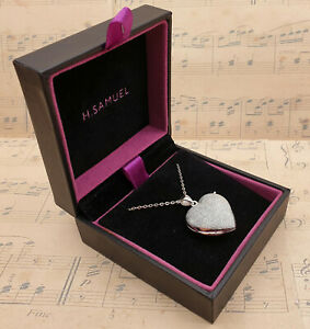 Vintage 925 Sterling Silver Large Heart Locket Pendant Necklace with Box