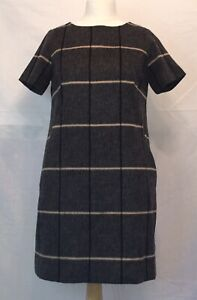 Next Tailoring Grey Checked Wool Blend Shift Dress, Size 12