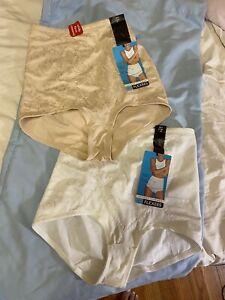 2 PAIR Maidenform Flexees Instant Slimmer White Briefs 2XL 6854 NWT Firm Con