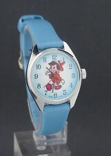 Vintage 1970's Pinocchio wind-up Cartoon Character Watch for Repair