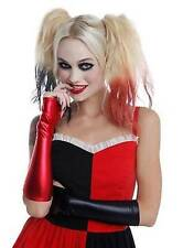 Harley Quinn Suicide Squad Black & Red Fingerless Lamé Gloves Costume Cosplay
