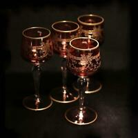 Antique set of 4 MOSER cranberry ruby wine glasses needle etched gold gilded