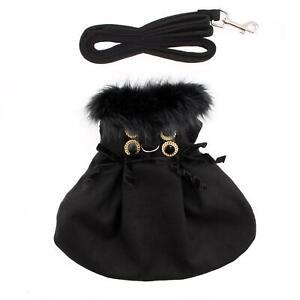Wool Fur-Trimmed Dog Harness Coat by Doggie Design - Black