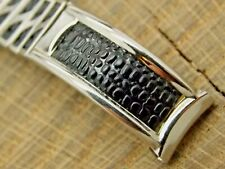 Vintage Stainless Steel & Leather Expansion NOS Unused Watch Band 12mm Ladies