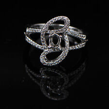 3x5mm Oval Cut Solid 14K White Gold Semi Mount Natural Diamond Ring