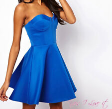 PARTY EVENING Bandeau Skater Dress With Circle Skirt in Blue UK18/EU46/US14