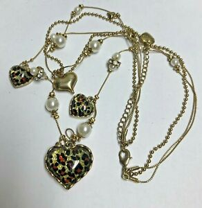 BETSEY JOHNSON Animal Print Hearts Necklace
