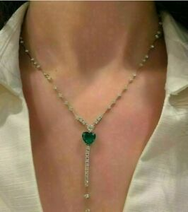 "14k White Gold Over 7 Ct Heart Cut Green Emerald & Diamond Tennis Necklace 16"""