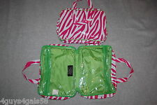 Cosmetic Bag TRAVEL MAKEUP BAG Two Sided PINK White ZEBRA STRIPES Lime Green