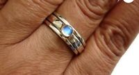 925 Sterling Silver Band & Moonstone stone Spinner Ring Handmade All size BU-323