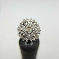 14k White Gold Fancy Light Brown Round Diamond Cocktial Ring 1.30 ct
