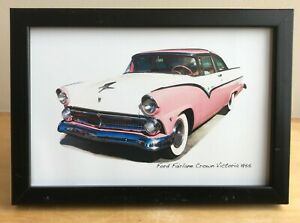 Ford Fairlane Crown Victoria 1955 - 4x6in Photo in Black, White or Silvery Frame