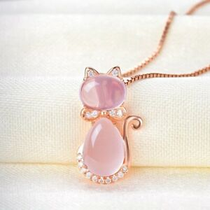 Rose Gold Plated Necklace Pink Opal Cat Shape Pendant Chain Jewelry Gift