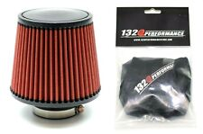 """1320 PERF FAB 2.5"""" Universal air filter cone reusable red with Pre-Filter"""