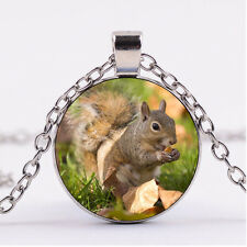 Photo Cabochon Silver Fashion Glass Necklace pendant:cute squirrel