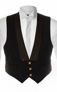 Ex-hire 3 button Black WAISTCOAT Scottish Prince Charlie Kilt