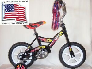 BMX BIKE BOYS BLACK 12 inch with Adjustable Training Wheels + FREE USA 3x5' Flag