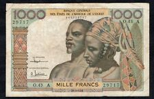 1000 Francs From West African States 1961 VG