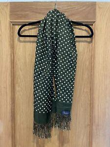 Vintage Unisex Michelsons Green Polka Dot Spot 100% Silk Scarf