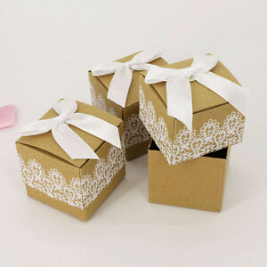 10/50/100 Square Lace Bowknot Wedding Favour Party Paper Candy Sweet Gift Boxes