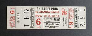Philadelphia 76er's vs Atlanta Hawks Unused 1971 Basketball Ticket