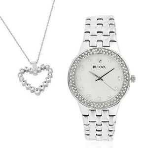 BULOVA Watch with Mother of Pearl Dial Crystal Heart Pendent Necklace Jewelry