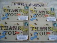4 x United Kingdom,    Starbucks,,new gift card,6094 Thank you