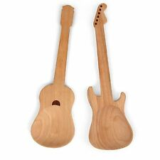 Rockin Spoons - Wooden Guitar Shaped Serving Spoons x 2 Salad Servers Beech Wood