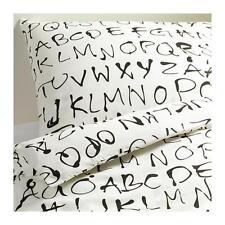 IKEA ALPHABET QUEEN BED Quilt Doona Duvet Cover 2 Pillow Cases Set White EIVOR