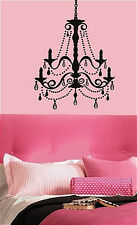 "CHANDELIER Giant Wall Sticker with 20 Gems 38 decals light 25"" x 36"" BLACK"