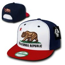 Red White & Blue California Republic Bear Flat Bill Snapback Snap Back Cap Hat