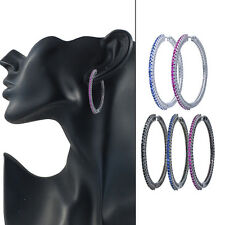 Swarovski Elements CZ Two Inch Round Hoop Earrings Red Black Blue 40% off
