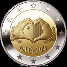 """MALTA 2 € EURO 2016  """" AMORE """" FDC BU ST DA ROTOLINO"""