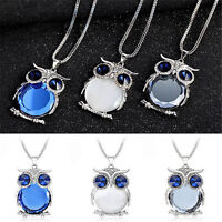 Women Fashion Rhinestone Crystal Owl Pendant Long Chain Sweater Necklace Jewelry