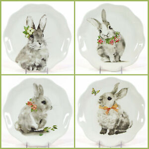 """NEW Pier 1 Imports BUNNY PALS 8.5"""" Salad Plate Set 4Pc Rabbit Flower Butterfly"""