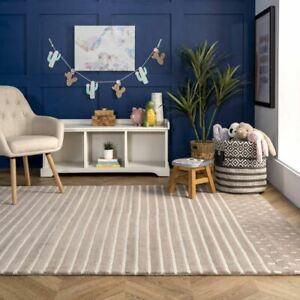 Morse Awning Stripes Beige Hand-Tufted 100% Wool Soft Area Rug Carpet.