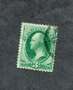 1870. 3c  GREEN 'WASHINGTON' WITH GRILL 10x12 VGU GIBBONS No138a cat £33+ (2015)