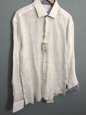 NWT Bertigo Men's 100% Linen Button Front Shirt White Size XL