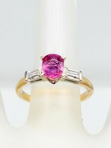 Designer $5000 2.40ct Natural NO HEAT Pink Sapphire Diamond 14k Yellow Gold Ring