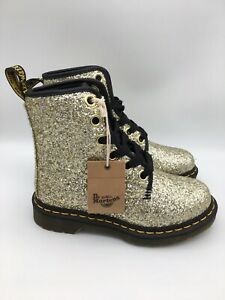 NEW Dr. Martens 1460 FARRAH Gold Chunky Glitter Women's Leather Boots Size 6 US
