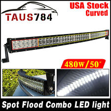 "50"" 480W CURVED Flood Spot Combo LED Work Light Bar Fog Driving DRL SUV 4WD JEEP"