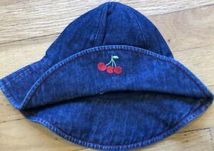 NEW Vintage 2001 GYMBOREE Denim CHERRIES Sun HAT Size NB Newborn 0-3 mo NWT