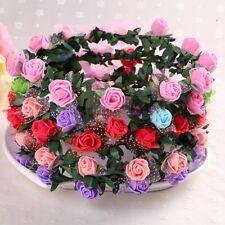 Damen Bohemia Blumenkranz Rose Blumen Haarband Stirnband Hochzeit Haarschmuck DE