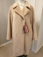 Brand New Genuine Max Mara Women Studio Powder Pink Teddy Alpaca Wool Coat UK14