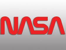 2x7 inch Worm Lettering RED NASA Sticker  - space nerd science logo letters geek