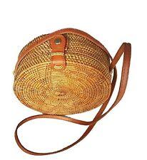 WUBU Handwoven Round Rattan Bag (Plain Weave), Round Bag, Straw Bag, Bali Bag